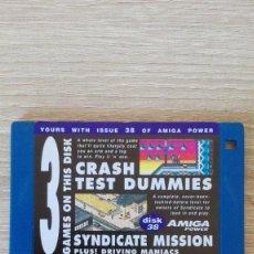 """Videojuegos y Consolas: CRASH TEST DUMMIES-SYNDICATE MISSION-DISKETTE 3,5""""COMMODORE AMIGA-DEMO-AMIGA POWER ISSUE 38-AÑOS 90.. Lote 225745171"""