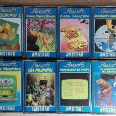 Videojuegos y Consolas: LOTE 8 JUEGOS AMSOFT-AMSTRAD CASSETTE-AÑO 1985.CON INSTRUCCIONES DORSO CARÁTULA.. Lote 142934146