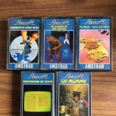 Videojuegos y Consolas: AMSTRAD-AMSOFT-5 CINTAS CASSETTE-4 JUEGOS Y PROCESADOR DE TEXTO-AÑOS 80.. Lote 151094566