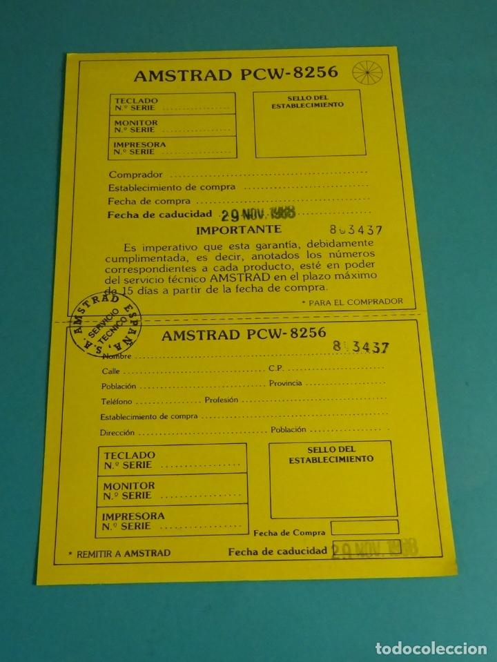 TARJETA GARANTÍA AMSTRAD PCW - 8256 (Juguetes - Videojuegos y Consolas - Amstrad)
