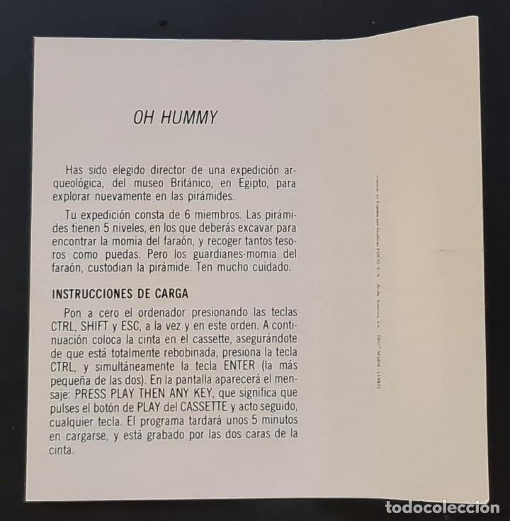 Videojuegos y Consolas: OH MUMMY - Amstrad Cassete - Como nuevo - AMSOFT - Foto 3 - 179123952
