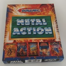 Videojuegos y Consolas: CAJA METAL ACTION AMSTRAD CPC 6128 DISCO GUERRA VAJILLAS DON QUIJOTE. Lote 206712623