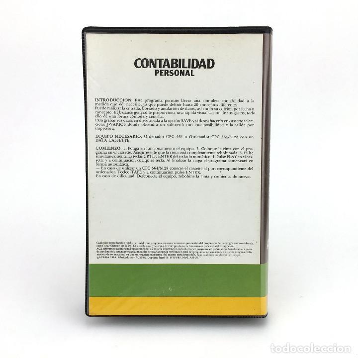 Videojuegos y Consolas: CONTABILIDAD PERSONAL ESTUCHE ACE SOFTWARE ACCESA SOFT ESPAÑA 1985 AMSTRAD CPC 464 664 6128 CASSETTE - Foto 3 - 230151690