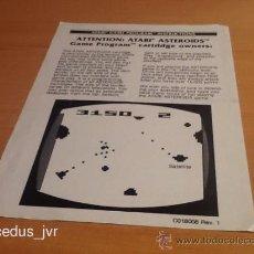 Videojuegos y Consolas: ASTEROIDS MANUAL DE INSTRUCCIONES LIBRO DE USUARIO PARA JUEGO DE ATARI 2600. Lote 37597384