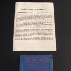 Videojuegos y Consolas: JUEGO DE ORDENADOR ATARI ST DISQUETE SUBBUTEO CON SU MANUAL DE INSTRUCCIONES. Lote 121736935