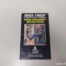 Videogiochi e Consoli: 1118-MAZE CRAZE COPS N ROBBERS CX 2635 ATARI GAME INSTRUCTIONS 1980 . Lote 140219642
