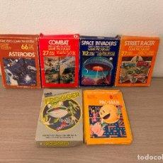 Videojuegos y Consolas: CAJAS ORIGINALES DE JUEGOS DE ATARI SPACE INVADERS FROG PACKMAN ASTERIODS COMBAT AÑOS 80. Lote 147718438