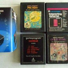 Videojuegos y Consolas: 6 CARTUCHOS JUEGOS ATARI 2600 + JOYSTICK NUEVO PACMAN COMBAT CIRCUS FOOTBALL CON ENVIO INCLUIDO. Lote 170966358