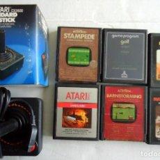 Videojuegos y Consolas: 6 CARTUCHOS JUEGOS ATARI 2600 + JOYSTICK NUEVO STAMPEDE GOLF WARLORD VANGUARD CON ENVIO INCLUIDO. Lote 170969455