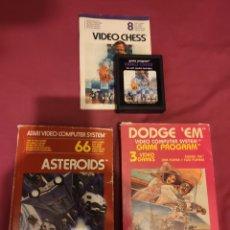 Videojuegos y Consolas: LOTE TRES JUEGOS CONSOLA ATARI 2600 - ASTEROIDS / DODGE 'EM / VIDEO CHESS - VER FOTOS. Lote 189567273