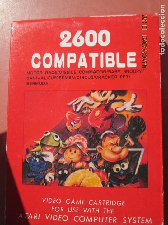 2600 COMPATIBLE , JUEGO PARA CONSOLA ATARI MOTOR RACE , MISSILE SNOOPY , CARNIVAL ETC (Juguetes - Videojuegos y Consolas - Atari)