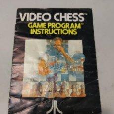 Videojuegos y Consolas: INSTRUCCIONES VIDEOJUEGO ATARI VIDEO CHESS. Lote 240117690