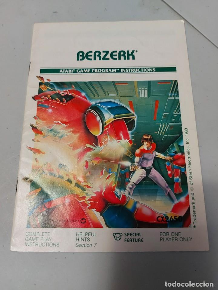 INSTRUCCIONES VIDEOJUEGO ATARI BERZERK (Juguetes - Videojuegos y Consolas - Atari)