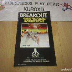 Videojogos e Consolas: MANUAL BREAKOUT ATARI 2600 BUEN ESTADO. Lote 275577128
