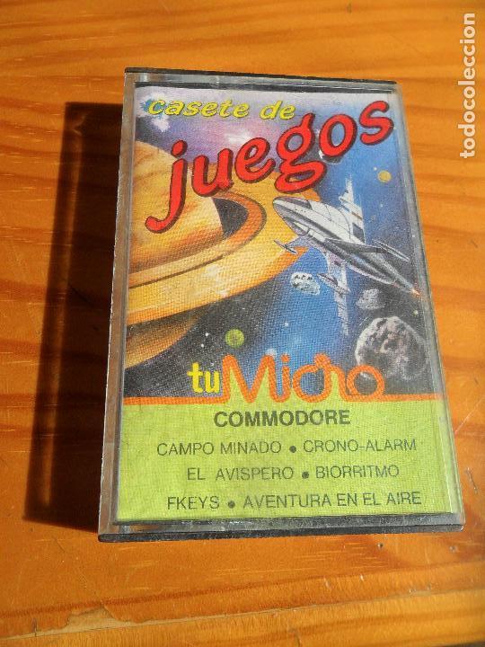 CASETE DE JUEGOS COMMODORE: CAMPO MINADO, EL AVISPERO, FKEYS, CRONO-ALARM, BIORRITMO, AVENTURA EN EL (Juguetes - Videojuegos y Consolas - Commodore)