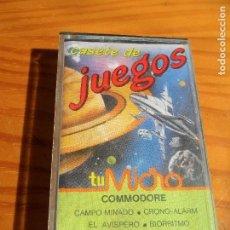 Videojuegos y Consolas: CASETE DE JUEGOS COMMODORE: CAMPO MINADO, EL AVISPERO, FKEYS, CRONO-ALARM, BIORRITMO, AVENTURA EN EL. Lote 84340496