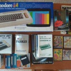 Videojuegos y Consolas: COMMODORE 64 EN SU CAJA ORIGINAL + DATASSETTE / JOYSTICK / PADDLES / GUIAS / JUEGOS / CABLE AV. Lote 164528414