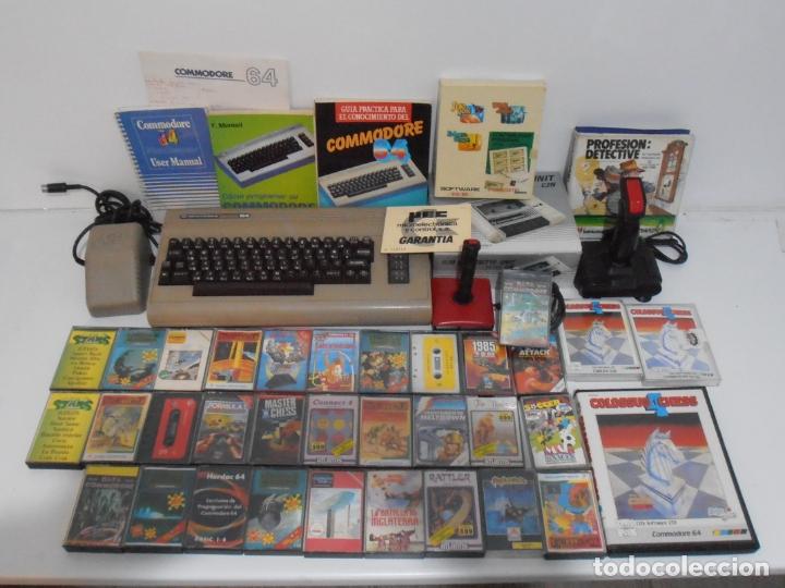 LOTE COMMODORE 64, ORDENADOR, INSTRUCIONES, DATASSETE CAJA, 3 LIBROS, JOYSTICKS, 35 JUEGOS, LOTAZO (Juguetes - Videojuegos y Consolas - Commodore)