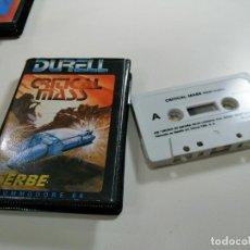 Videojuegos y Consolas: CRITICAL MASS - JUEGO COMMODORE 64 C64 COMPLETO - DURELL SOFTWARE LTD. 1985 - EXCELENTE ESTADO. Lote 231407475