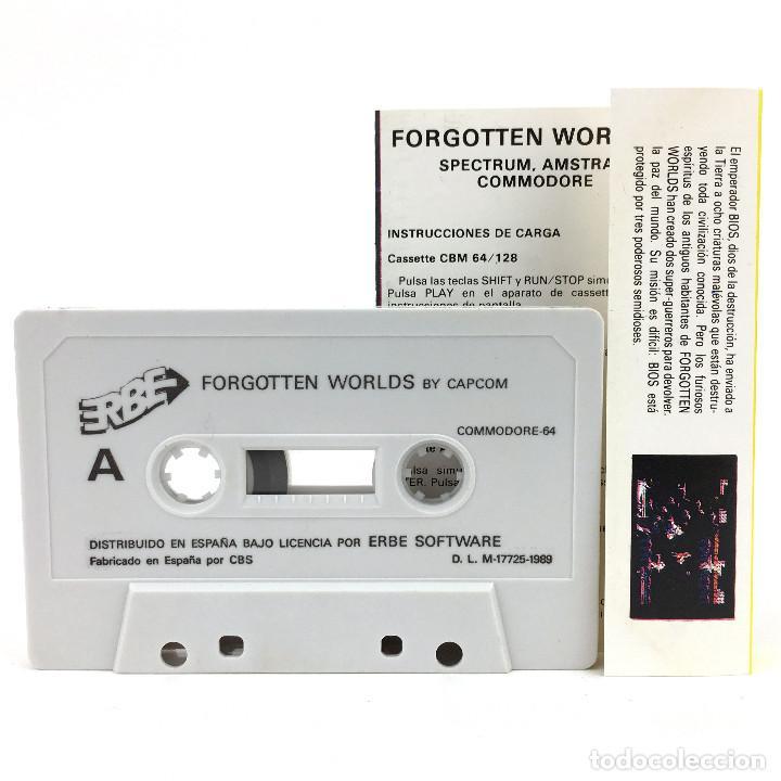 Videojuegos y Consolas: FORGOTTEN WORLDS ERBE LOMO AMARILLO / CAPCOM Schwarzenegger Mohawk CBM COMMODORE 64 128 C64 CASSETTE - Foto 2 - 277295788