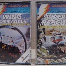 Videojuegos y Consolas: 2 VIDEO JUEGOS COMMODORE 64 RIVER RESCUE - WING COMMANDER 1984. Lote 24469876