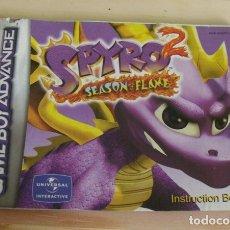 Videojuegos y Consolas: GUÍA MANUAL SPYRO 2 - GAME BOY ADVANCE - GBA - NINTENDO. Lote 172744540