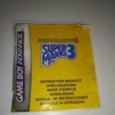 Videojuegos y Consolas: MANUAL INSTRUCCIONES JUEGO SUPER MARIO BROS 3 (SUPER MARIO ADVANCE 4) GAME BOY ADVANCE. Lote 182917553