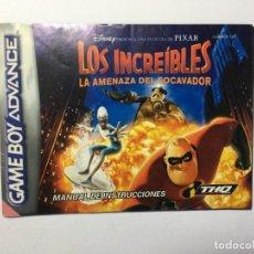Videojuegos y Consolas: MANUAL INSTRUCCIONES GAME BOY ADVANCE LOS INCREIBLES. Lote 205177368