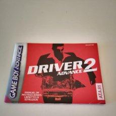 Videojuegos y Consolas: DRIVER 2 GAME BOY ADVANCE MANUAL DE INSTRUCCIONES NINTENDO JUEGO CONSOLA CARTUCHO. Lote 286873463