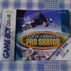 Videojuegos y Consolas: INSTRUCCIONES DE TONY HAWK´S PRO SKATER PARA NINTENDO GAMEBOY COLOR - GAMEBOY GB GBC SALCEDUS. Lote 27221477