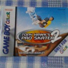 Videojuegos y Consolas: INSTRUCCIONES DE TONY HAWK´S PRO SKATER 2 PARA NINTENDO GAMEBOY COLOR - GAMEBOY GB GBC SALCEDUS. Lote 27221481
