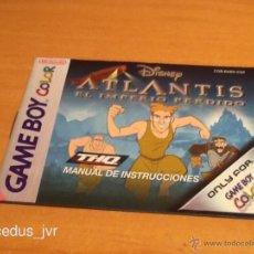 Videojuegos y Consolas: ATLANTIS EL IMPERIO PERDIDO LIBRO MANUAL DE INSTRUCCIONES PARA NINTENDO GAMEBOY GAME BOY COLOR. Lote 41360306