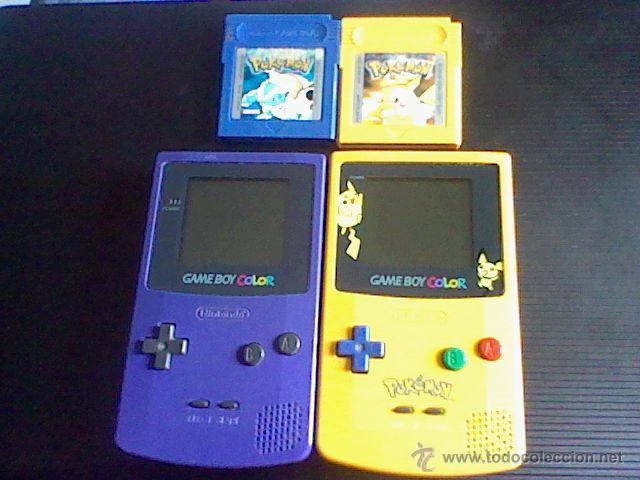 GAMEBOY COLOR POKEMON PICACHU SIN TAPA PILAS + GB COLOR AZUL + JUEGOS POKEMON PROBADO (Juguetes - Videojuegos y Consolas - Nintendo - GameBoy Color)