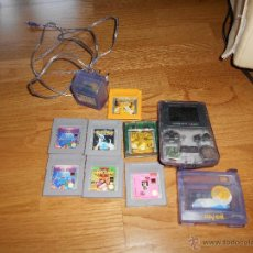 Videojuegos y Consolas: CONSOLA GAME BOY COLOR TRANSPARENTE + 7 CARTUCHOS + HARRY POTTER ACCESORIO MARIO LAND ETC. Lote 49516567