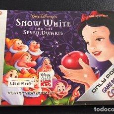Videojuegos y Consolas: MANUAL DE INSTRUCCIONES DEL JUEGO DE GAME BOY NINTENDO GAMEBOY COLOR SNOW WHITE BLANCANIEVES. Lote 100517515