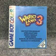 Videojuegos y Consolas: WARIO LAND 3 MANUAL DE INSTRUCCIONES NINTENDO GAME BOY COLOR. Lote 128502659