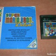 Videojuegos y Consolas: JUEGO SUPER MARIO BROS DELUXE PARA CONSOLA PORTÁTIL NINTENDO GAME BOY COLOR CON SUS INSTRUCCIONES. Lote 178035028