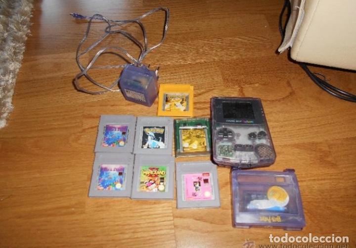 CONSOLA GAME BOY COLOR TRANSPARENTE + 7 CARTUCHOS + HARRY POTTER ACCESORIO MARIO LAND ETC (Juguetes - Videojuegos y Consolas - Nintendo - GameBoy Color)
