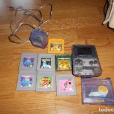 Videojuegos y Consolas: CONSOLA GAME BOY COLOR TRANSPARENTE + 7 CARTUCHOS + HARRY POTTER ACCESORIO MARIO LAND ETC. Lote 223394707