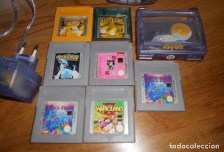 Videojuegos y Consolas: Consola Game Boy Color transparente + 7 cartuchos + HARRY POTTER ACCESORIO Mario Land etc - Foto 2 - 223394707