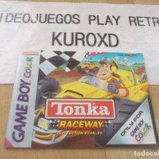 Videojuegos y Consolas: MANUAL TONKA RACEWAY NINTENDO GAME BOY COLOR PAL EUR. Lote 275588183