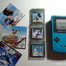 Videojuegos y Consolas: LOTE GAME BOY COLOR TUQUESA + 3 JUEGOS. Lote 289315803