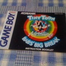 Videojuegos y Consolas: MANUAL DE INSTRUCCIONES PARA TINY TOON BAB'S BIG BREAK TOONS NINTENDO GAMEBOY GAME BOY LIBRO LIBRETO. Lote 31831739