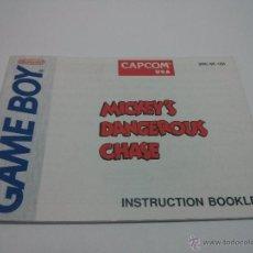 Videojuegos y Consolas: MANUAL INSTRUCCIONES GAME BOY - MICKEY´S DANGEROUS CHASE (INGLÉS). Lote 47797105