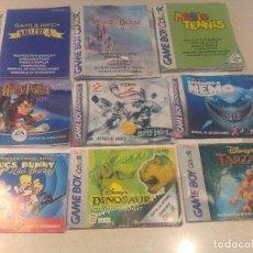 Videojuegos y Consolas: LOTE 9 BOOKLETS GBC GBA GAMEBOY COLOR ADVANCE NINTENDO ORIGINALES. Lote 80012665