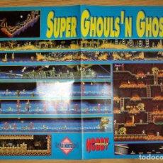 Videojuegos y Consolas: POSTER SUPER GHOULS´N GHOSTS NINTENDO HOBBY CONSOLAS MAPA VIDEOJUEGO. Lote 118780171