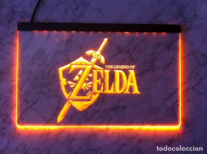 Videojuegos y Consolas: Cartel luminoso zelda the legend of link ocarina videojuego game boy triforce sega ps1 ps2 color wii - Foto 2 - 132167878