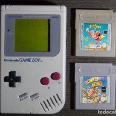 Videojuegos y Consolas: CONSOLA GAMEBOY NINTENDO GAME BOY + 2 JUEGOS BOMB JACK + DONKEY KONG. Lote 148517050
