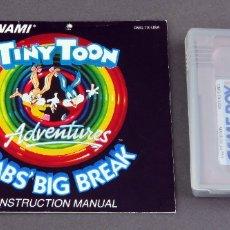 Videojuegos y Consolas: TINY TOON BABS BIG BREAK NINTENDO GAME BOY JUEGO CAJA INSTRUCCIONES FUNCIONA. Lote 180333400