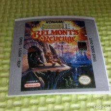 Videojuegos y Consolas: ETIQUETA PEGATINA THE CASTLEVANIA II BELMONT'S REVENGE NINTENDO GAME BOY GAMEBOY . Lote 191348987